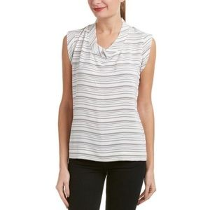 CABI Striped Mock Neck Madeline Blouse Small